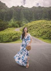 Blue & White Floral Maxi Dress in Oahu
