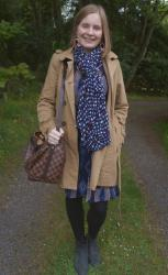 Cold Weather Layering: Dresses, Printed Scarves and Trench Coats