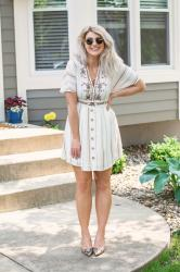 Pretty White Boho Dress with Anchora Bella + Kindred Shops.