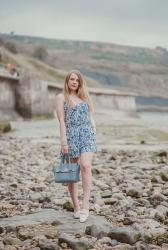 A China Blue Floral Playsuit Outfit
