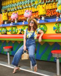 Lemon Print Off The Shoulder Top and Denim Free People Overalls