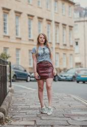 The Topshop Burgundy Leather Skirt Outfit