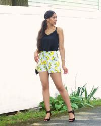 Lace Cami & Lemon Printed Shorts