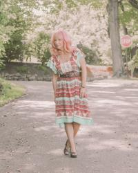 Boho Print Midi Dress & Wood Heel Sandals: The Size Of Your Life