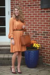Mustard Pleated Dress