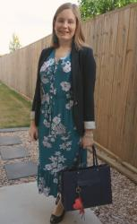 Weekday Wear Linkup: Two Ways To Wear Kmart Teal Floral Boho Midi Dress
