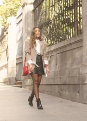 Houndstooth Blazer Leather Skirt