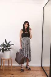 OOTD: Black tank & gingham midi skirt