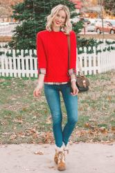 How to Wear a Red Sweater – 3 Outfit Ideas