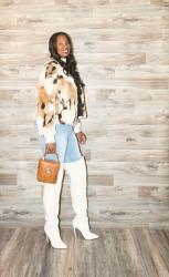 Multi Brown Faux Fur Jacket