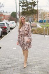 Valentine's Day Outfit Idea: Blush Animal Print Dress + Knee-High Boots