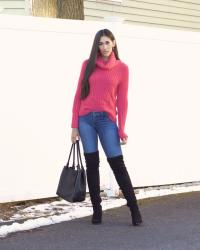 Bright Pink Sweater and Black Over the Knee Boots