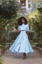 Long Sleeve Crop + Belted Swing Skirt