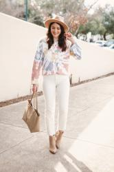 Tie Dye Sweater with White Jeans