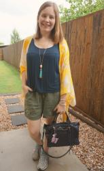 Soft Pull On Shorts and Printed Kimonos With Rebecca Minkoff Bags
