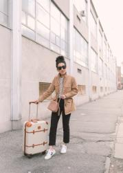Travel casual: shearling lined jacket + sneakers