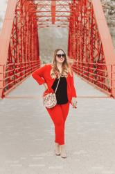 Passion red; with Shein, Menbur & Sunglass L.A.