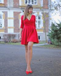 perfect red flared dress
