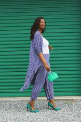 Navy and White Stripes with a Pop of Green