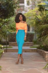 Neon Off Shoulder Top + Belted Pencil Skirt