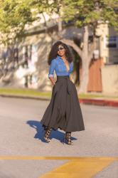 Fitted Denim Shirt + Belted Midi Skirt