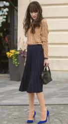 Here's a Classic Midi Skirt and Sweater Combo for Cold Snap in May – Every May