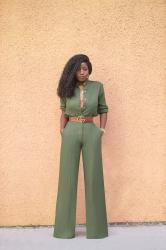 Military Style Button Down + High Waist Wide Leg Pants