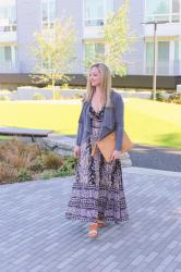 Spring Style: Printed Maxi Dress + Faux Suede Jacket