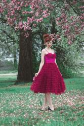 Berry Ruffled Tulle Sweetheart Cupcake Swing Dress