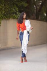 Color Block Draped Top + Ripped Jeans