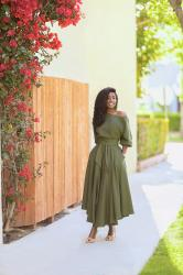 Olive Off Shoulder Swing Dress