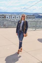 Spring Style: Suede Moto Jacket + Stripes