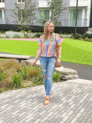 Summer Style: Rainbow Stripe Shirt + Distressed Jeans
