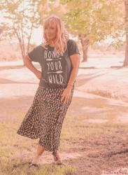 Honor Your Wild + Graphic Tee & Leopard Print Silk Skirt