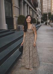 Leopard Maxi Dress with Tie Straps