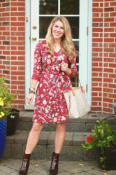 Burgundy Floral Dress & Confident Twosday Linkup