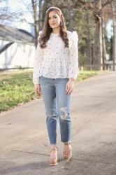 White Floral Peplum Top